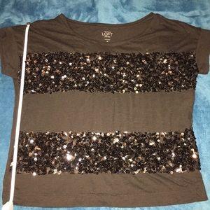 LOFT Tops - LOFT Black Sequin Striped Top
